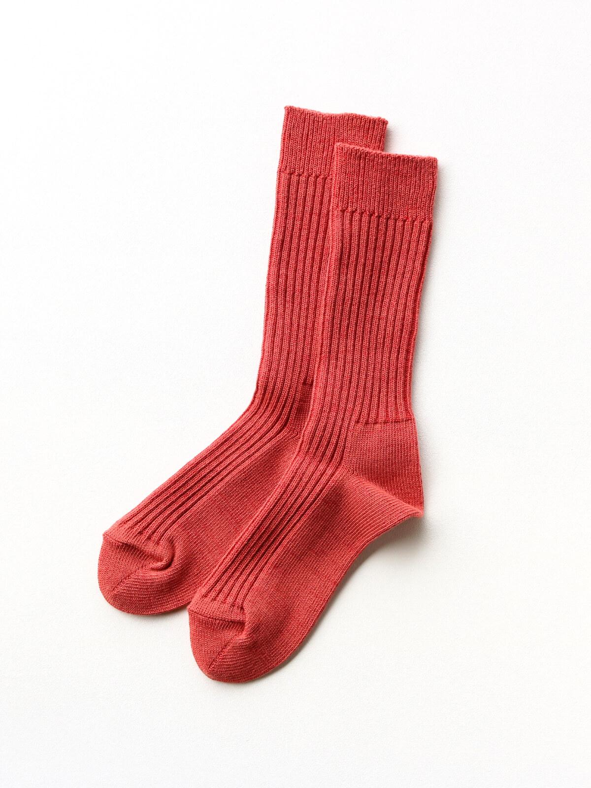 当たりつきギフト専用靴下のLUCKY SOCKS(ラッキーソックス)のSmooth Rib Socks(スムースリブソックス)のブラッドオレンジ_2