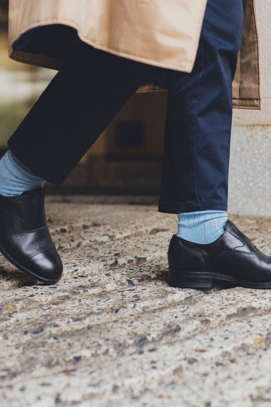 当たりつきギフト専用靴下のLUCKY SOCKS(ラッキーソックス)のLight Rib Socks(ライトリブソックス)のスチールブルー_image2